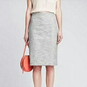 Banana Republic gray white crosshatch pencil skirt